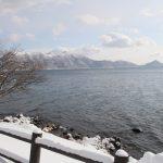 丸駒温泉旅館背對支笏湖的景色(如果是湖景房間,更會對著支笏湖)
